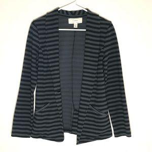 Caslon Black & Gray Striped Soft Cotton Blazer